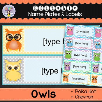 Editable Name Plates and Labels (Owl Theme)