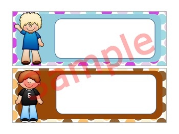 Editable Name Plates and Labels : Happy Kids on Double Dots