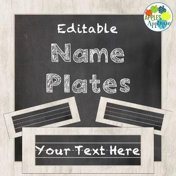 Editable Name Plates in Chalkboard Theme