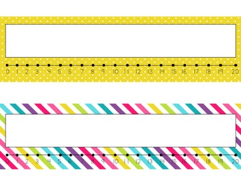 Editable Name Plates with Number Lines (Kristy)