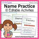 Editable Name Practice Activities | Back to School