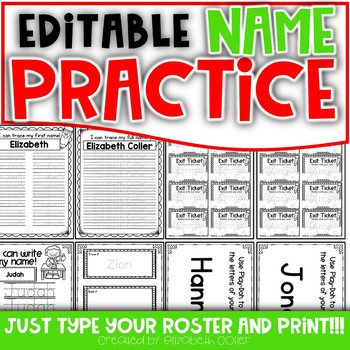 Name Practice Activities - EDITABLE