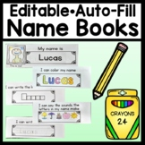 Name Writing Practice-Editable Books (Auto-Fill 8 Pages} {Name Tracing Editable}