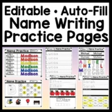 Name Writing Practice Editable with Auto-Fill (12 Pages!} Name Tracing Editable
