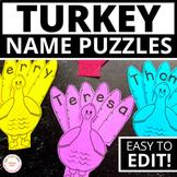 Editable Name Practice | Thanksgiving Turkey Name Puzzles