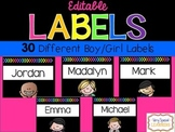 {Editable} Name Tag Labels
