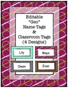 """Editable Name Tags, """"Geo Print"""""""
