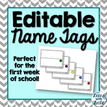 Editable Name Tags FREEBIE