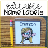 Editable Labels for Name Tags or Book Bins