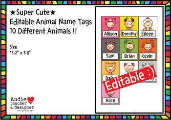 Editable Name Tags / Animal Name Tags
