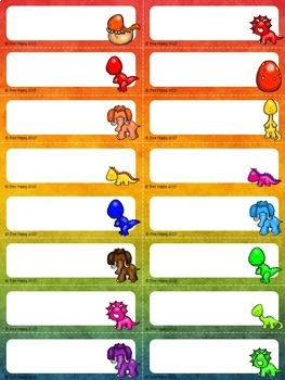 Editable Name Tags, Badges and Labels - Dinosaurs