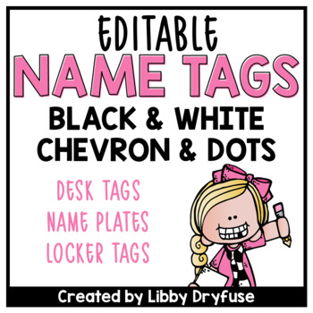 Editable name tags black white chevron and polka dots for Locker tag templates