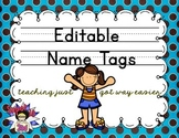 Print Editable Name Tags- Blue Brown Dots