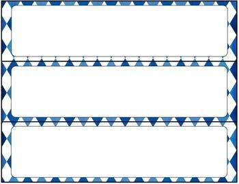 Print Editable Name Tags- Blue Diamonds
