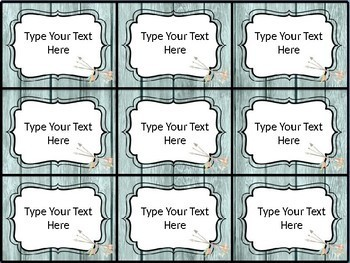 Editable Name Tags - Blue Shiplap & Tribal Art