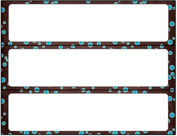 Print Editable Name Tags- Blue and Brown Splatter Dots