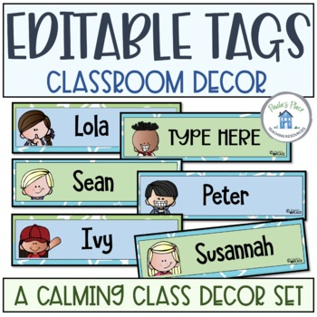 Editable Name Tags Blue and Green Theme