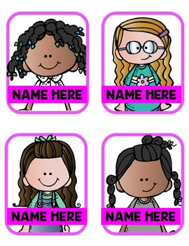 Editable Name Tags/Book Bin Labels- Neon