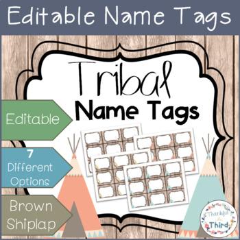 Editable Name Tags - Brown Shiplap & Tribal Art