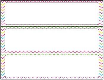 Print Editable Name Tags- Colorful Zig Zags (Chevron)