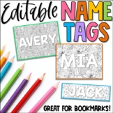 Editable Name Tags & Coloring Sheets