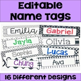 Editable Name Tags and Desk Plates in Black and White