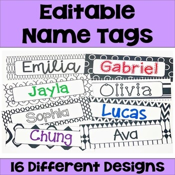 Editable Name Tags & Desk Plates in Black and White