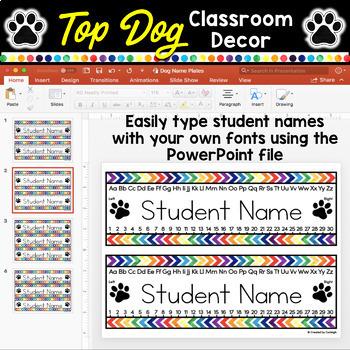 Editable Name Tags Desk Plates (Dog Classroom)