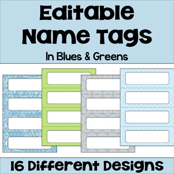 Editable Name Tags and Desk Plates in Blue and Green with Owls