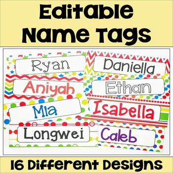 Editable Name Tags and Desk Plates in Bright Colors
