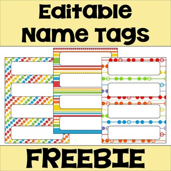 Editable Name Tags & Desk Plates in Bright Colors FREEBIE