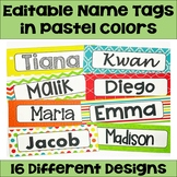 Editable Name Tags and Desk Plates in Pastel Colors