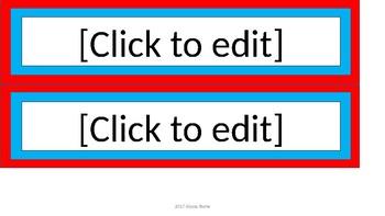 Editable Name Tags - Dr. Seuss Tribute Colors