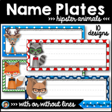 Editable Name Tags Hipster Animals Classroom Decor