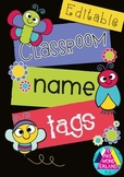 Editable Name Tags - Insect Themed