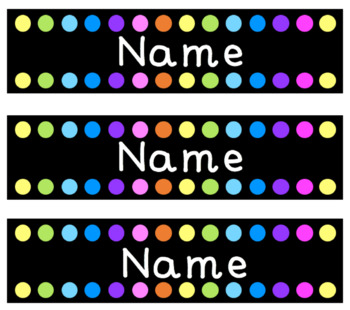 Editable Name Tags/Labels - Black with Rainbow Dots
