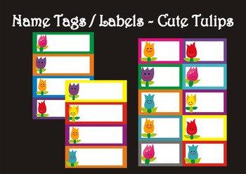 Editable - Name Tags / Labels - Cute Tulips