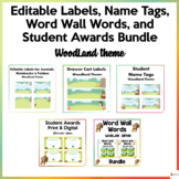 Editable Name Tags, Labels Word Wall, and Student Awards W