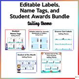 Editable Name Tags, Labels, and Awards Sailing Theme