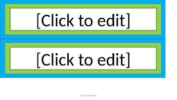 Editable Name Tags - Lime & Teal