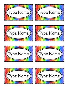 """Editable Name Tags, """"Rainbow"""""""