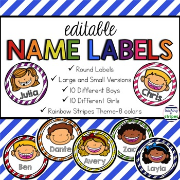 Editable Name Tags/Labels- Rainbow Stripes with Multicultu