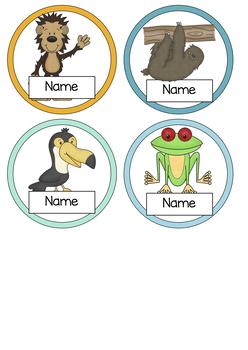 Editable Name Tags Rainforest Theme Display