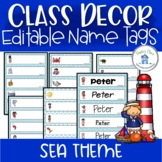 Editable Name Tags Sea Theme