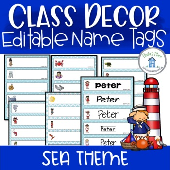 Editable Name Tags - Sea Theme