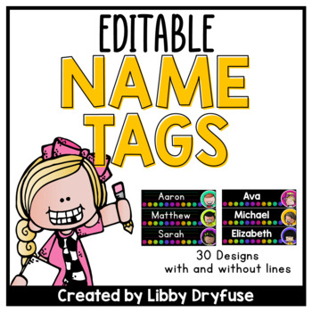Editable Name Tags - Sketchy Dots
