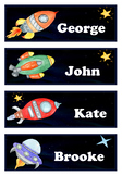 Editable Name Tags - Space Clip Art