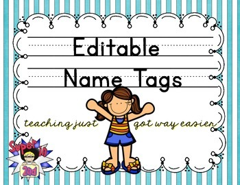 Print Editable Name Tags- Teal and White Stripes