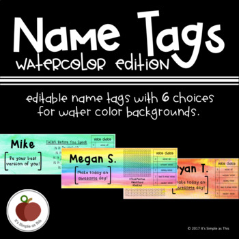 Name Tags: Water Color Edition (Editable)