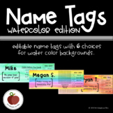 Name Tags: Watercolor Edition - Editable - Customize